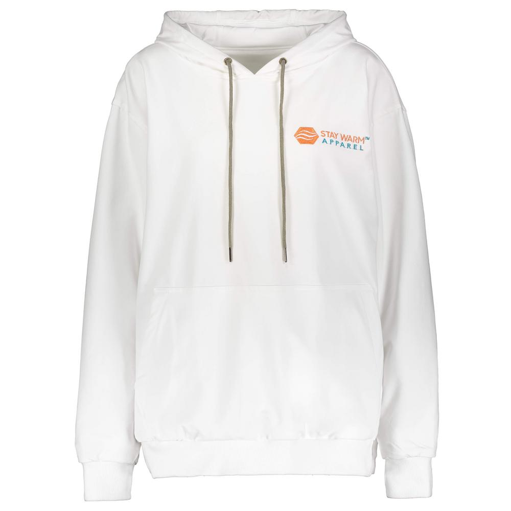 Stay Warm Apparel Small/Medium White Heated Hoodie 100% Cotton with Rechargeable Battery