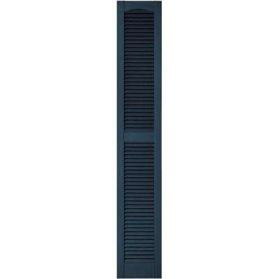 12 in. x 72 in. Louvered Vinyl Exterior Shutters Pair in #036 Classic Blue