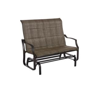 Hampton Bay Statesville Pewter Aluminum Outdoor Glider by Hampton Bay