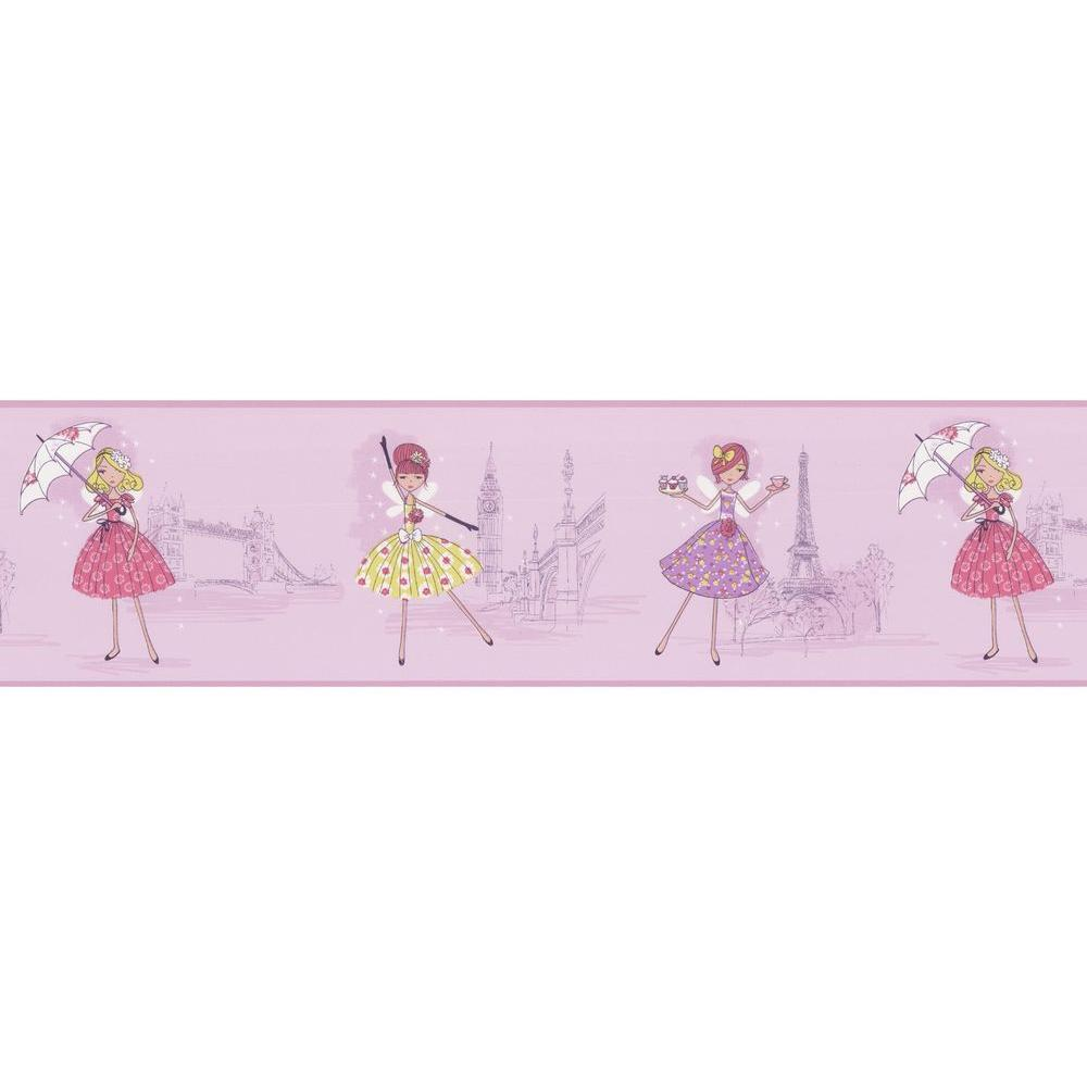 null Fairy Tea Time Purple European Party Wallpaper Border Sample