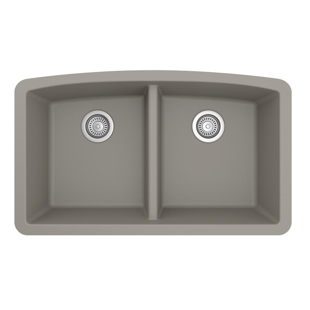Karran Undermount Quartz Composite 32 in. 50/50 Double Bowl Kitchen Sink in Concrete