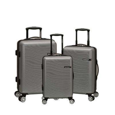 Skyline Collection 3-Piece Hardside Dual Spinner Luggage Set, Silver