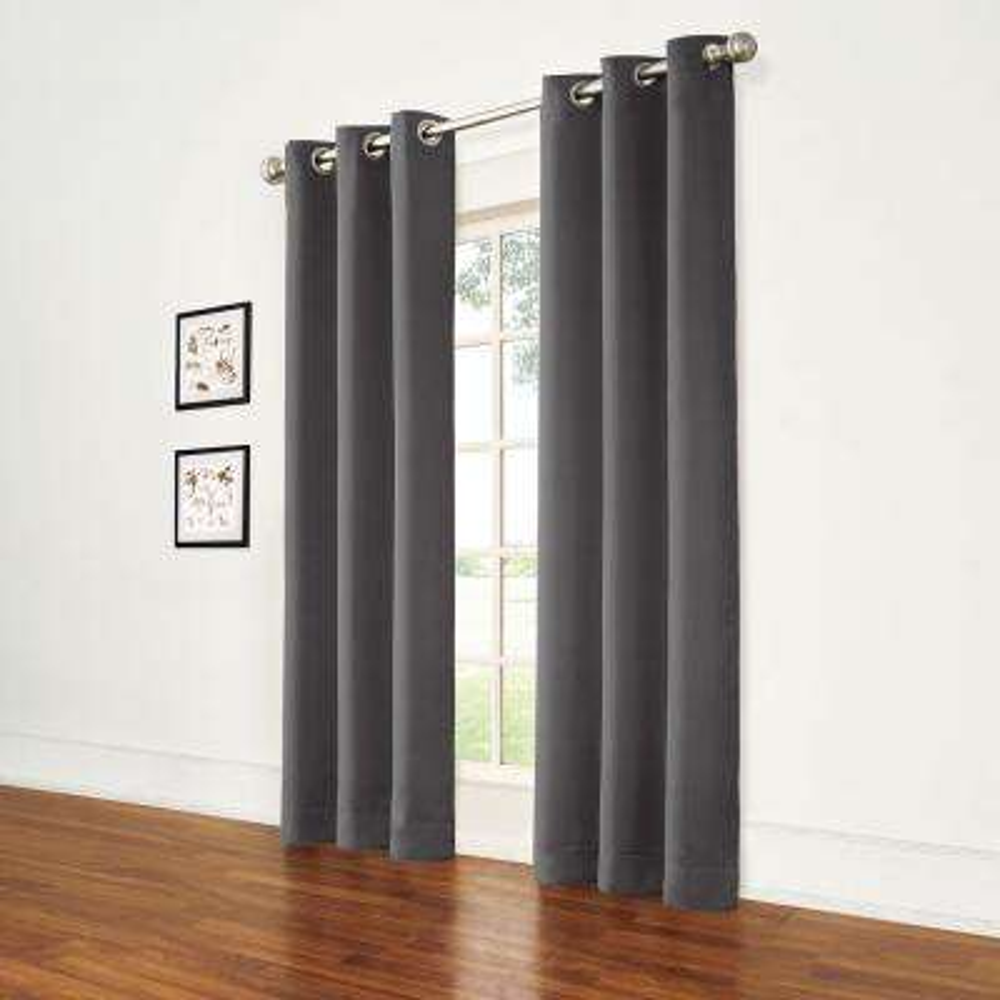 Thermal Pewter Room Darkening Window Curtain Pair - 74 in. W x 84 in. L (2-Panels)