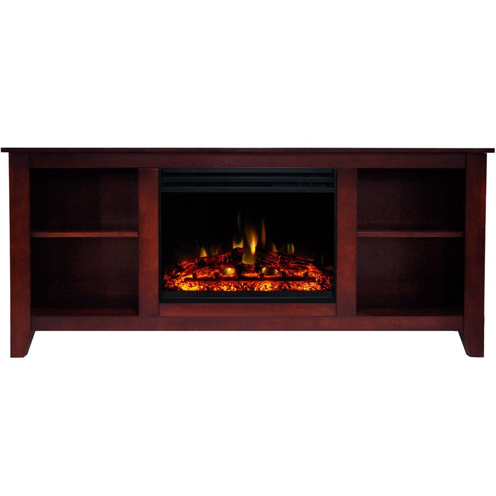Cambridge Santa Monica 63 in. Electric Fireplace Heater TV Stand in Cherry with Enhanced Log Display and Remote