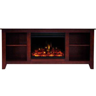 Santa Monica 63 in. Electric Fireplace Heater TV Stand in Cherry with Enhanced Log Display and Remote