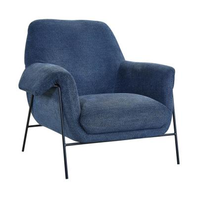 Black Metal and Navy Fabric Elie Contemporary Accent Chair