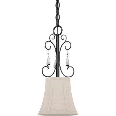 Ava 1-Light Foundry Bronze Indoor Mini Hanging Pendant with Ivory Fabric Lamp Shade