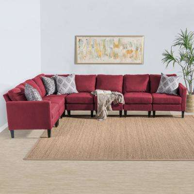 7-Piece Deep Red Fabric Sectional