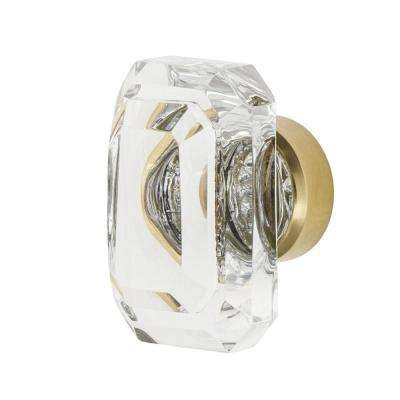 Baguette Cut Clear Crystal 1-9/16 in. Cabinet Knob in Unlacquered Brass