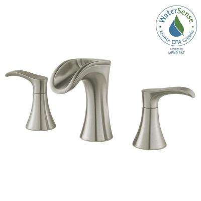 Brea 8 in. Widespread 2-Handle Waterfall Bathroom Faucet in Brushed Nickel