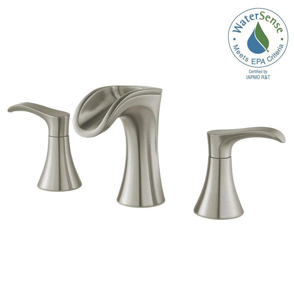 Pfister Brea 8 In Widespread 2 Handle Waterfall Bathroom Faucet Brushed Nickel