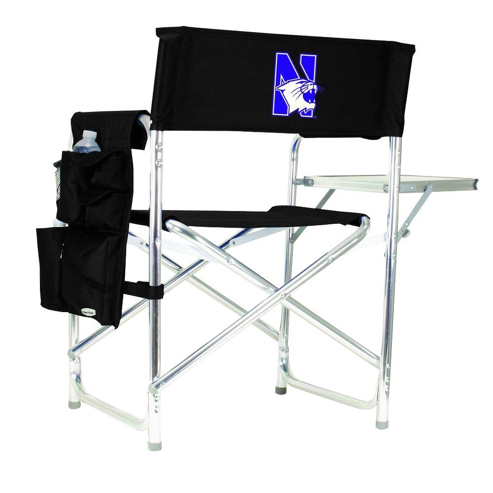 Northwestern University Black Sports Chair with Embroidered Logo