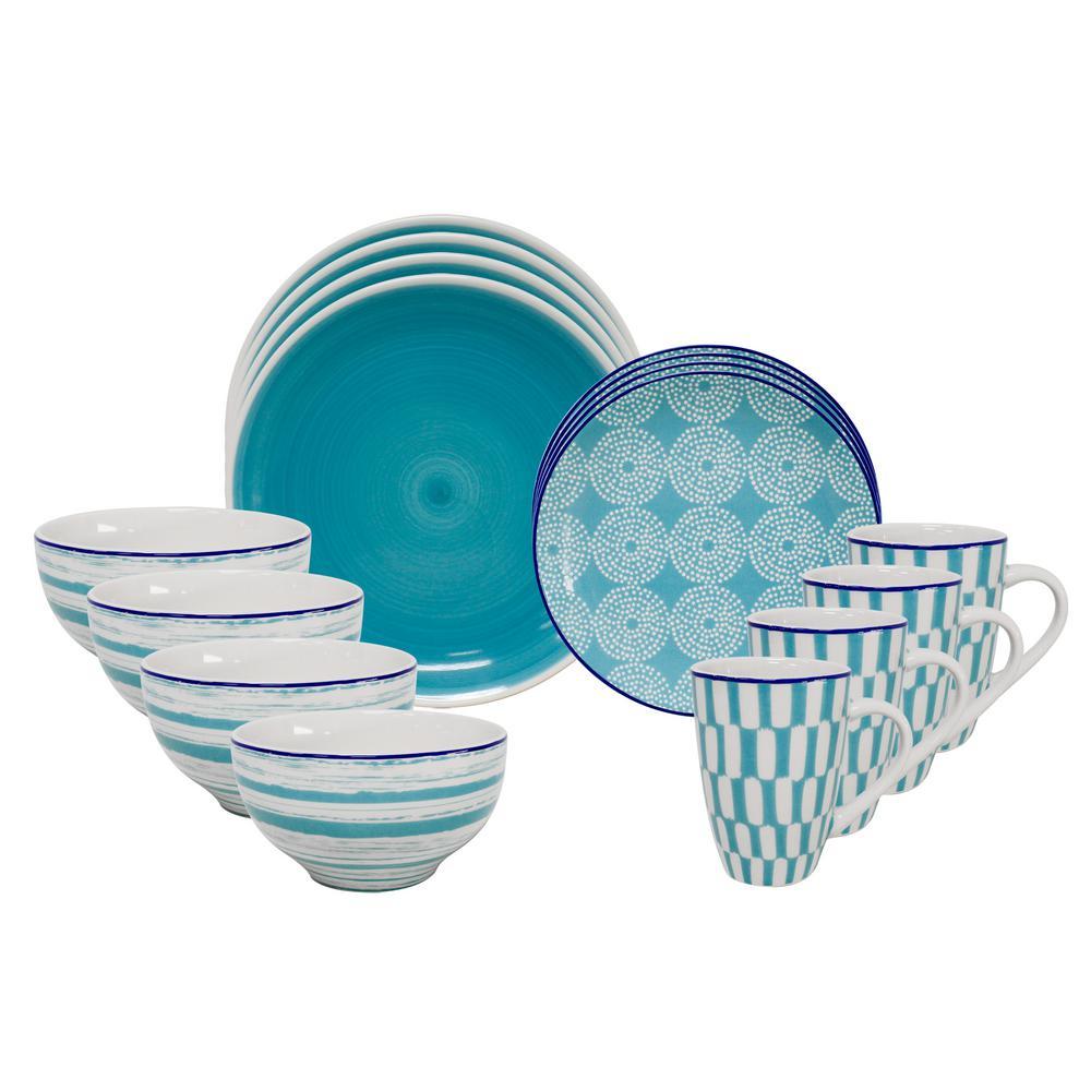 Simpatico 16-Piece Green Dinnerware Set by