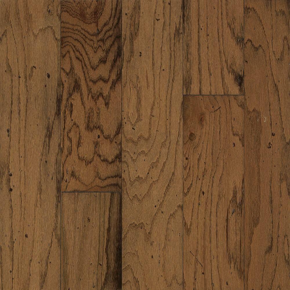 Bruce Take Home Sample Distressed Oak Gunstock Engineered Hardwood Flooring 5 In X