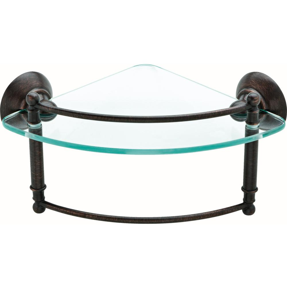 8 in. Glass Corner Shelf with Hand Towel Bar in SpotShield