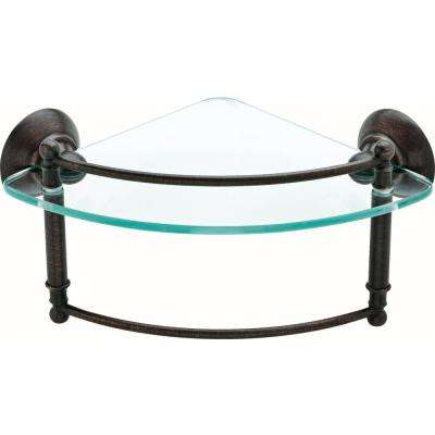 8 in. Glass Corner Shelf with Hand Towel Bar in SpotShield Venetian Bronze