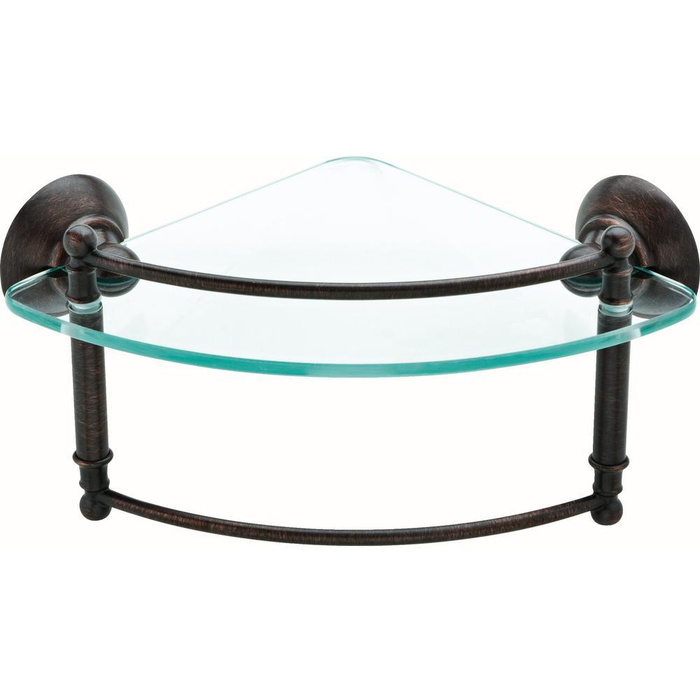 8 in. Glass Corner Shelf with Hand Towel Bar in Venetian Bronze