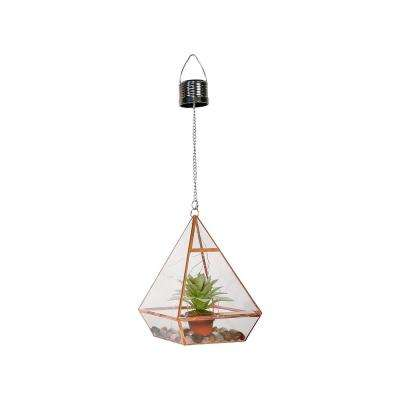 8 in. Tall Alpine Solar Triangle Terrarium with Succulent Accent and LED Lights