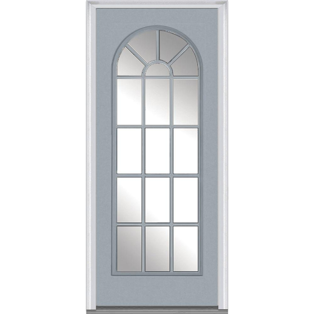 Mmi door 32 in x 80 in clear glass left hand full lite for Prehung exterior doors with storm door