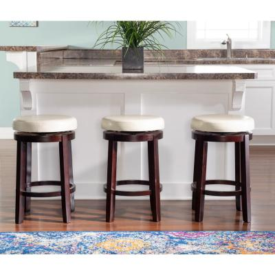 Maya 24 in. Brown Cushioned Bar Stool