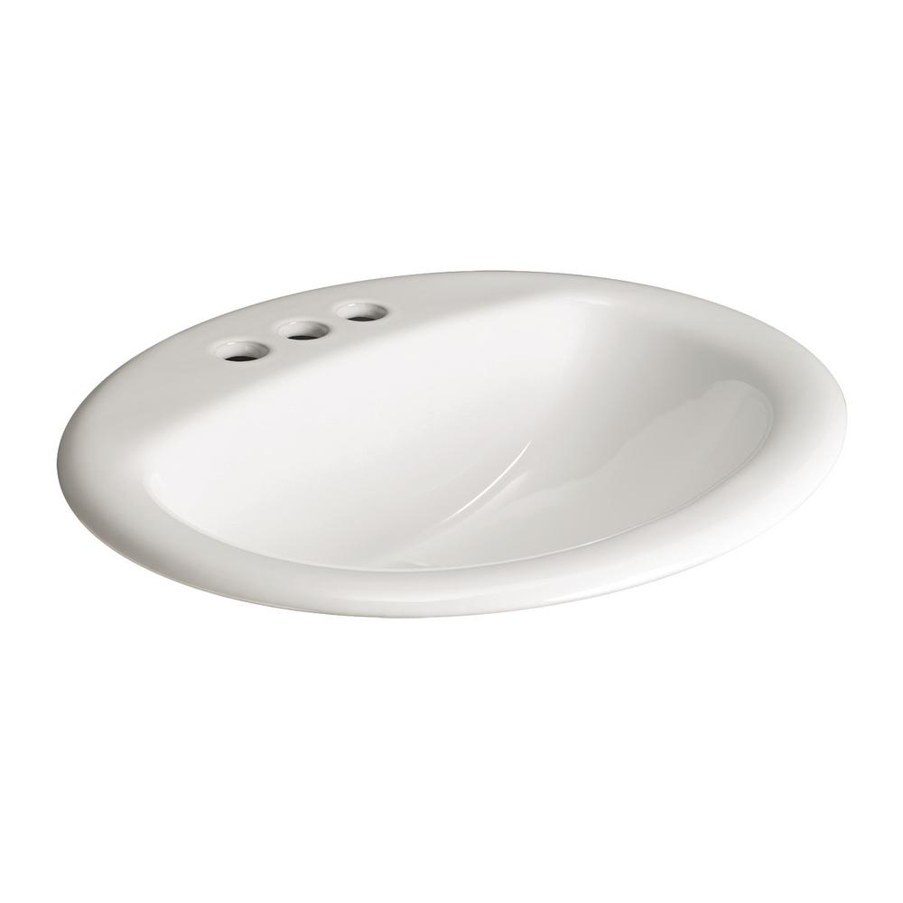 Aragon Self-Rimming Drop-In Bathroom Sink in White