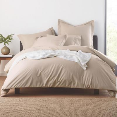 Garment-Washed Solid Organic Cotton Percale Duvet Cover Set