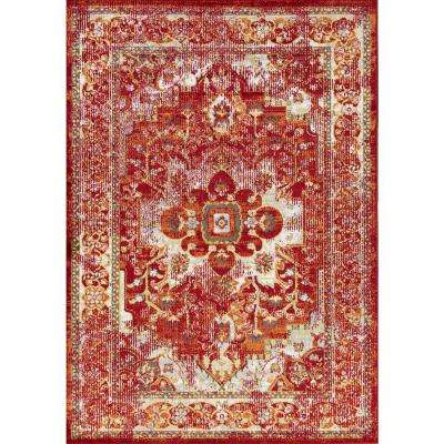 Skyline Bennett Red 8 ft. x 10 ft. Distressed Area Rug