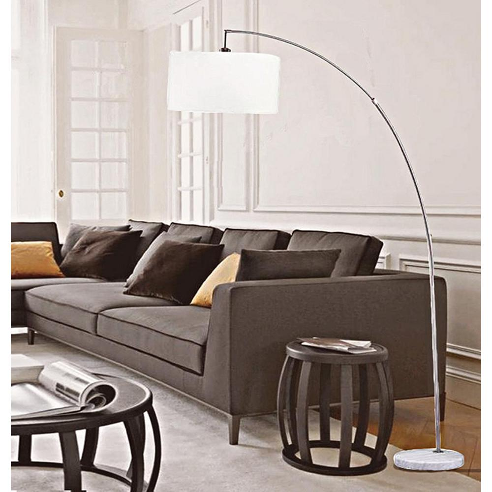 ORE International Allegro 86 in. Silver and White Marble Arc Floor Lamp  with Linen Shade