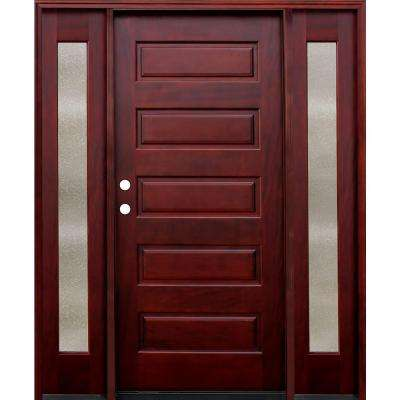 70 in. x 80 in. Contemporary 5-Panel Stained Mahogany Wood Prehung Front Door with 14 in. Seedy Sidelites