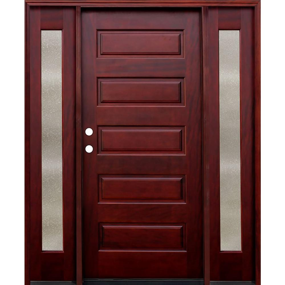Pacific Entries 70 in. x 80 in. 5-Panel Stained Mahogany Wood Prehung Front Door w/ 6 in. Wall Series and 12 in. Seedy Sidelites