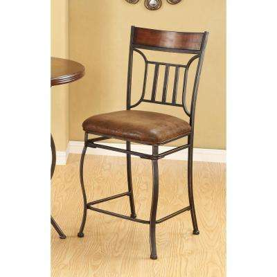 Tavio 24 in. Black Gold Brush Swivel Cushioned Bar Stool (Set of 2)
