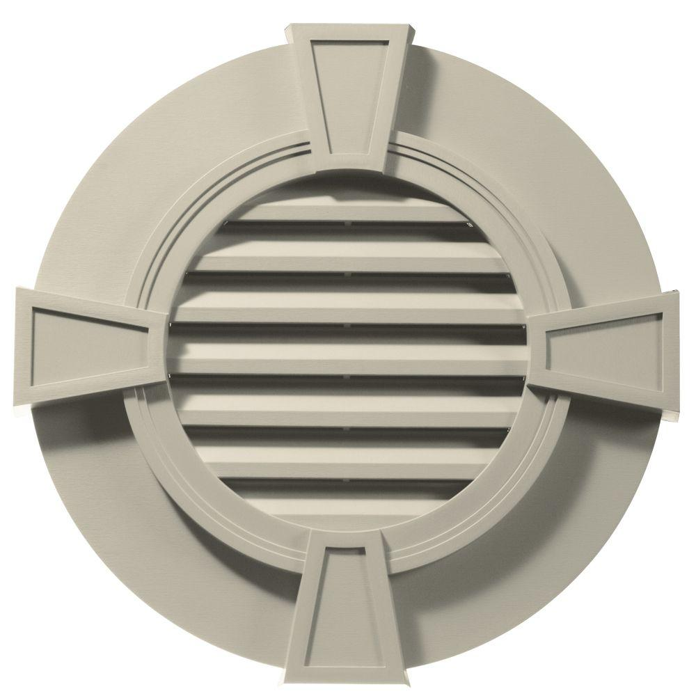 Builders Edge 30 in. Round Gable Vent in Champagne with Keystones
