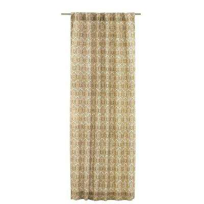 Printed Burlap Safari 50 in. W x 96 in. L Curtain Panel in Tan