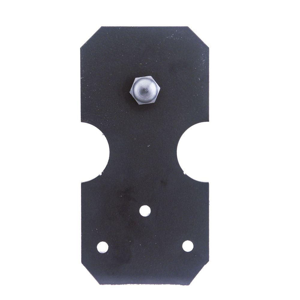 6 in. x 3 in. Notched Rectangle Black Roller Strap