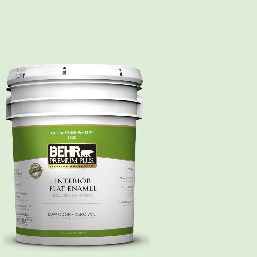 BEHR Premium Plus 5-gal. #440C-2 Cucumber Crush Zero VOC Flat Enamel Interior Paint-DISCONTINUED