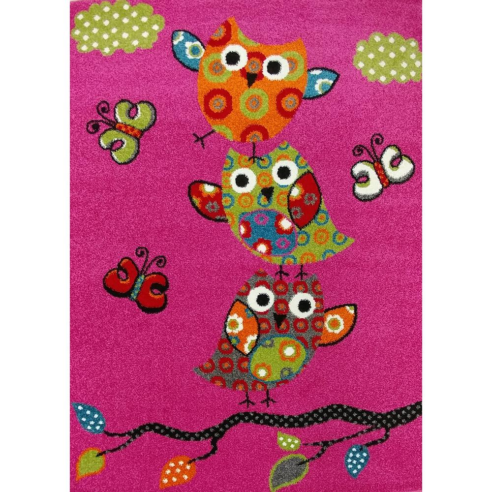 KC CUBS Multi-Color Kids Children and Teen Bedroom Playroom Pink Owl and  Butterfly Design 4 ft. x 5 ft. Area Rug