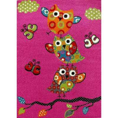Multi-Color Kids Children and Teen Bedroom Playroom Pink Owl and Butterfly Design 4 ft. x 5 ft. Area Rug