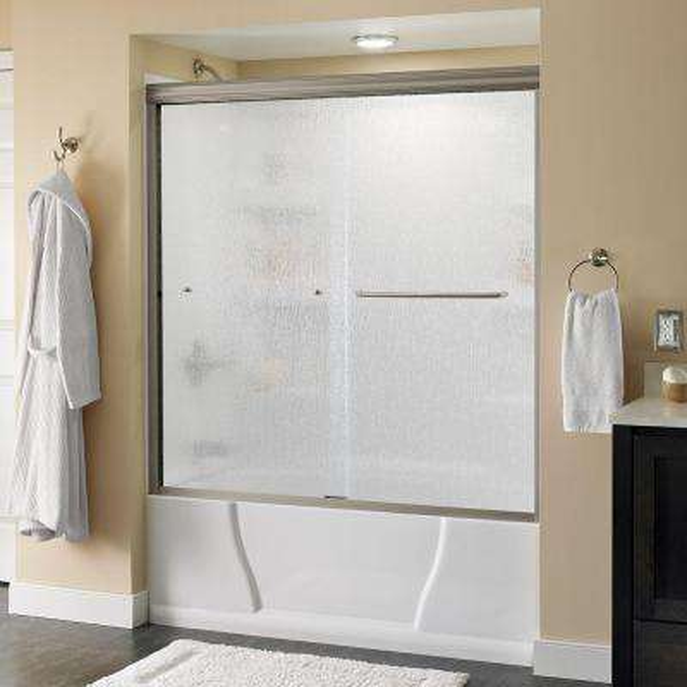 Simplicity 60 in. x 58-1/8 in. Semi-Frameless Sliding Bathtub Door in Nickel with Rain Glass
