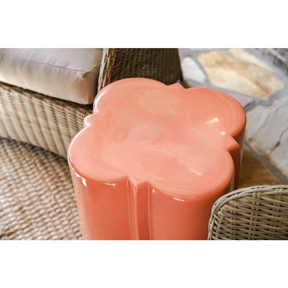 Aimee Quatrefoil Ceramic Stone Outdoor Accent Table