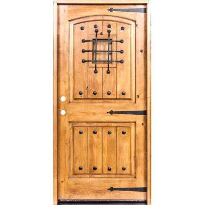 32 in. x 80 in. Mediterranean Knotty Alder Arch Top Clear Stain Right-Hand Inswing Wood Single Prehung Front Door