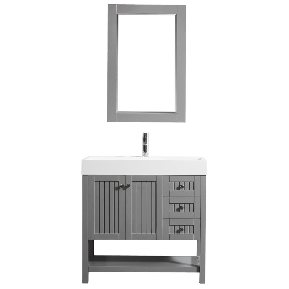ROSWELL Pavia 36 in. W x 18 in. D Vanity in Grey with Acrylic Vanity Top in White with White Basin and Mirror