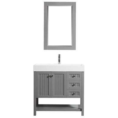 Pavia 36 in. W x 18 in. D Vanity in Grey with Acrylic Vanity Top in White with White Basin and Mirror