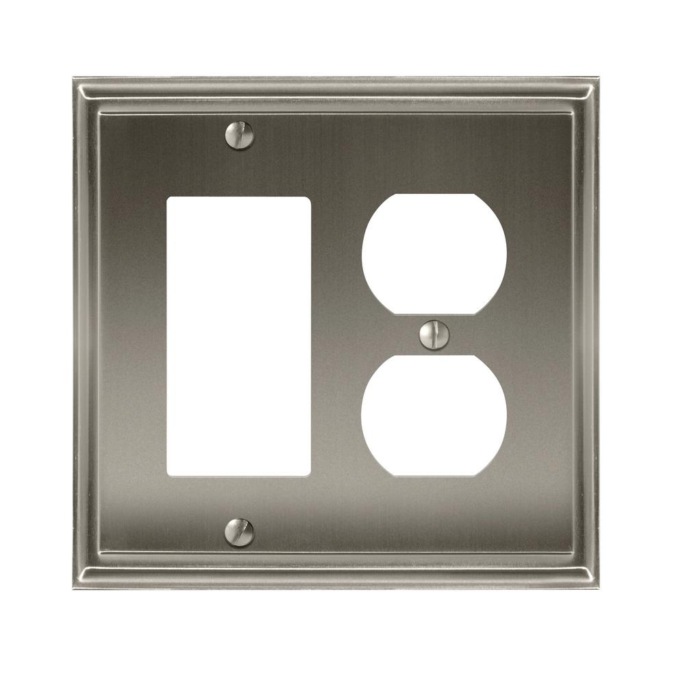 Mulholland 1 Rocker and 1-Duplex Outlet Combination Wall Plate, Satin Nickel