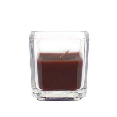2 in. Brown Square Glass Votive Candles (12-Box)