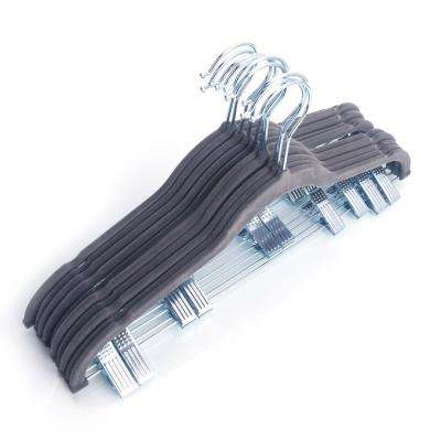 Peg Gray Plastic Flocking Clothes Hanger (10-Pack)