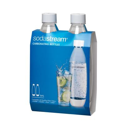 1 L Slim White Carbonating Water Machine Bottles (Set of 2)