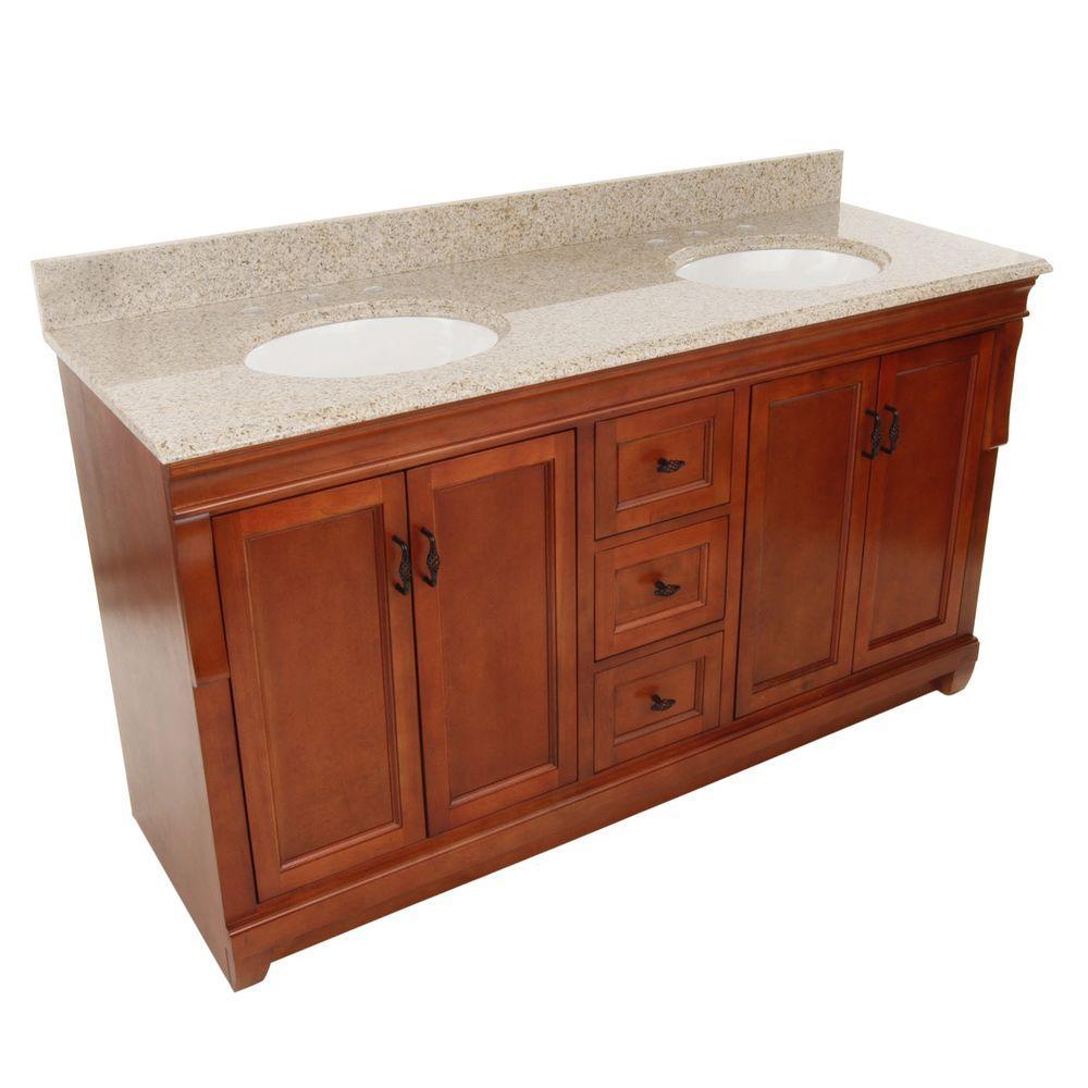 Foremost Naples 61 in. W x 22 in. D Double Bath Vanity in Warm Cinnamon with Granite Vanity Top in Beige