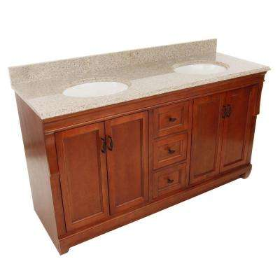 Naples 61 in. W x 22 in. D Double Bath Vanity in Warm Cinnamon with Granite Vanity Top in Beige (4-piece)