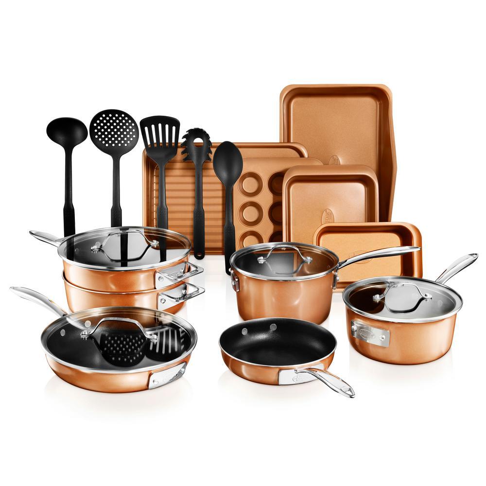 Deals on Gotham Steel StackMaster 21-Pcs Ceramic Nonstick Cookware Set