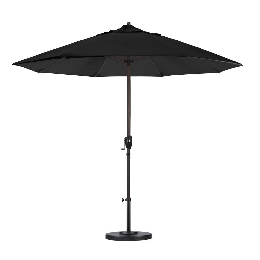 9 ft. Bronze Aluminum Pole Market Aluminum Ribs Auto Tilt Crank Lift Patio Umbrella in Black Sunbrella